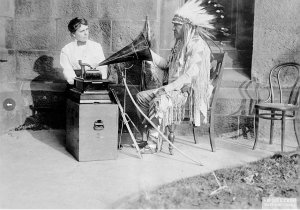 Frances Densmore with Blackfoot chief Mountain Chief during a recording session for the BAE