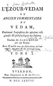 Ezour-Vedam title page